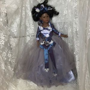 Victorian Porcelain Doll with Blue Dress